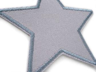 Bild: Canvas Hosenflicken zum aufbügeln, grauer Stern unifarben, Bügelflicken Stern