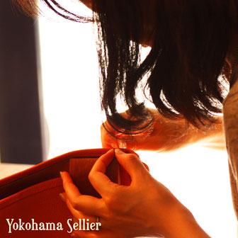 東京・横浜・大阪にあるレザークラフト(革)教室ヨコハマセリエ 製作中の生徒さん