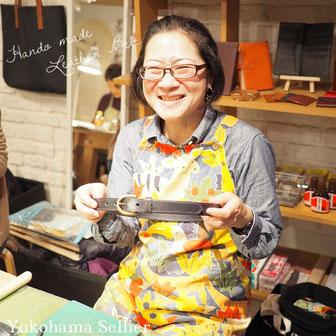 東京・横浜・大阪にあるレザークラフト(革)教室ヨコハマセリエ 生徒さんハンドメイドの作品 ベルト完成