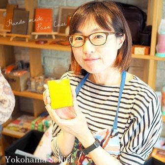 東京・横浜・大阪にあるレザークラフト(革)教室ヨコハマセリエ 生徒さんハンドメイドの作品 パスケース完成
