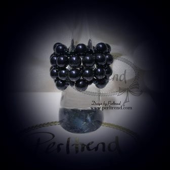 Fingerring Perlen Absolut Sinfleurella Night Blue www.perltrend.com