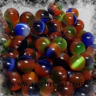 Katzenaugen-Perlen Multicolor dunkel
