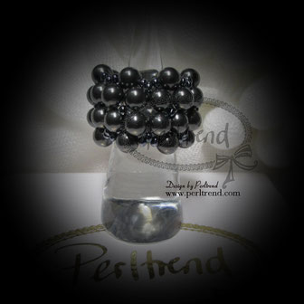 Fingerring Perlen Absolut Sinfleurella Dark Grey www.perltrend.com