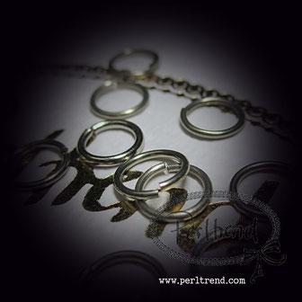 Schmuckverarbeitung Ringe offen platinfarben www.perltrend.com
