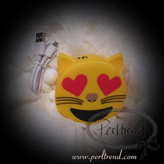 www.perltrend.com Natel Ladegeräte Emoji Katze Herz Augen