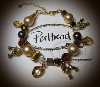 Perltrend Luzern Schweiz Onlineshop Schmuck Jewellery Jewelry www.perltrend.com Armschmuck Bracelet Armband Armkette Golden Dogs Powder Brown braun gold beige