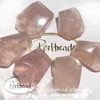 www.perltrend.com Edelsteine Gemstones Steine Perlen Heilsteine Schmuck Schmuckdesign Perltrend Luzern Schweiz Onlineshop Rosenquarz rosa pink nugget