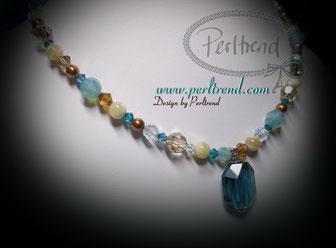 www.perltrend.com Halsschmuck Blau-Beige