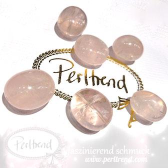 www.perltrend.com Edelsteine Gemstones Steine Perlen Heilsteine Schmuck Schmuckdesign Perltrend Luzern Schweiz Onlineshop Rosenquarz rosa pink trommelstein