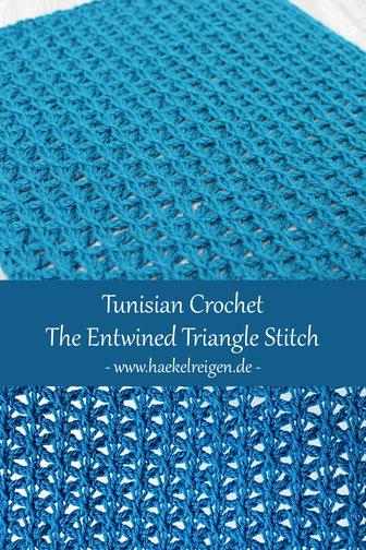 Pin Entwined Triangle Square Pattern Tunisian Crochet Haekelreigen