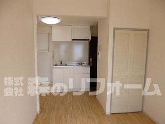 松戸市 賃貸マンションまるごとリフォーム キッチンを使いやすくリフォーム 床フローリングリフォーム クロス貼り替えリフォーム