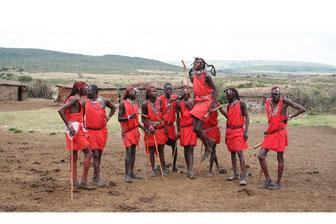 Masai Krieger in der Masai Mara in Kenia