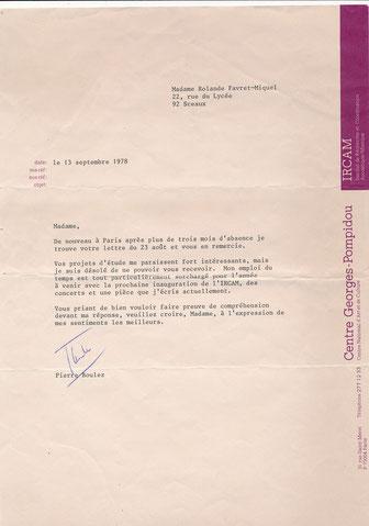 Pierre Boulez musicien IRCAM lettre sigée CD Galerie MUSIQUE