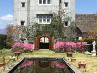タワーの下に咲くツツジ春一番(ヨシノ)