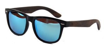 Wooden sunglasses wayfarer style blue mirrored