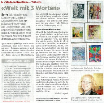"On 15.7.2015 in ""Liechtensteiner Volksblatt"" a daily Newspaper in the Principality of Liechtenstein. If you click on the photo you'll be forwarded to the online issue. Thanks"