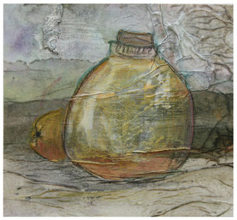 OMMM-Spezial: Marita Wagner, Quitten-Likör, 2016, Mischtechnik, 10 x 10,5 cm