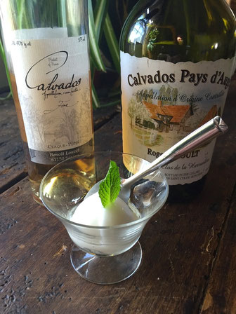 Christine's Trou Normand with Claque-Pepin Calvados Fine and Lemon Granita
