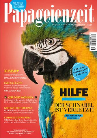 Papageienzeit 38 mit entzückendem Gelbbrustbaby berichtet über Schnabelverletzungen, Rezept für Papageiengebäck, welche Pflanzen können in die Voliere, Papageien im Fernsehen und so weiter