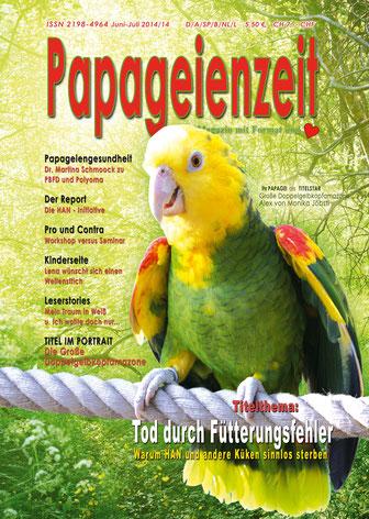 papageienteit Titel Doppelgelbkopfamazone, Tod durch Fütterungsfehler, die HAN-initiative, Leserstories