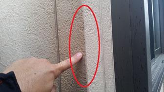 外壁塗装工事事例 大垣市上面 外壁塗装専門店エイトリハウス 施工前 塗膜のめくれ、素地が出ている、雨水を吸っている