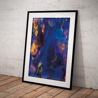 abstract schilderij paars blue gold
