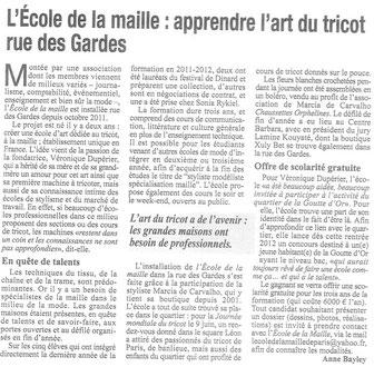 L'Ecole de la Maille dans le journal du 18ème, Sept 2012