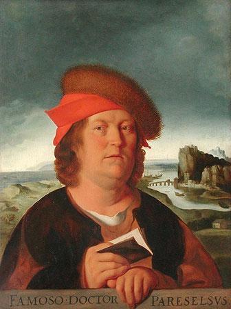 Darstellung des Paracelsus in einem Gemälde von Quentin Massys
