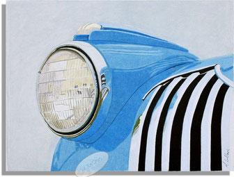 Dessin crayons de couleur gros plan phare pick up chevrolet 1942. bleu
