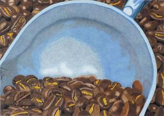Dessin crayons de couleur gros plan grains café dans pelle.