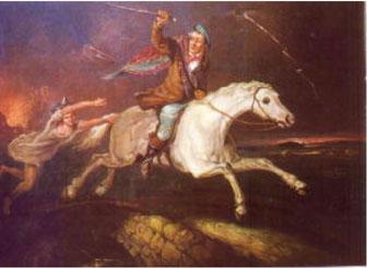 命がけで馬を駆って逃げるタム、それを逃がすものかと憤怒の形相で追っかける魔女ナニー