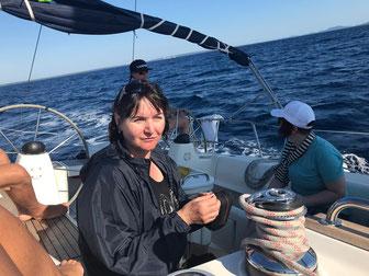 Silvia Gunsilius in Kroatien auf hoher See