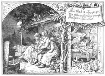 """Ludwig Richter, Illustration zu """"Der Mond ist aufgegangen"""", 1856"""
