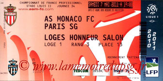 Ticket  Monaco-PSG  2010-11