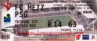 Ticket  Metz-PSG  2001-02