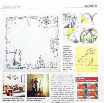 Kopf Hand Blatt Ausstellung im HDA Graz, Kleine Zeitung 11 2016