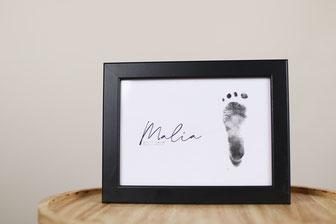 Fußabdruck, Stempelfolie, keine Farbe, kein abwaschen, Bilderrahmen, Fußabdruck im Rahmen, Baby