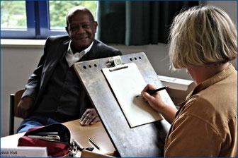 unser Ehrenmitglied Dipl. Soziologe Marc Auguste und die Karikaturistin Dipl. Soz. päd. Sylvia Voß