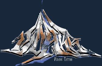 Vidark Tattoo Logo Graffiti Der Berg