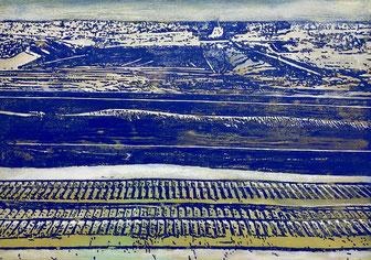JAN MUCHE, Über Tage, 2020, Acryl und Tusche auf Leinwand, 100 x 140 cm