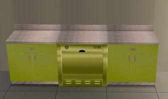 Element de cuisine Sanimonique recoloration vert/métal