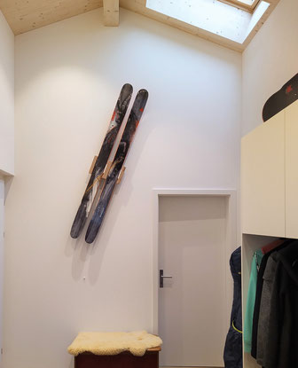 Wandhalterung Wandmontage Ski horizontal vertikal Ski Halterung wall mount Premium-Flex Eiche