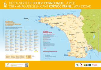 Panneau de départ randonnée pédestre - offre ouest Cornouaille