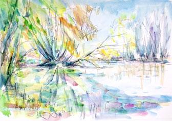 , aquarelle, aquapainting, bord de loire, loire a vélo, bridge painting, séverine saint-Maurice, lescerclesdelumiere.com