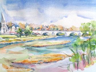 pont wilson, saint cyr, bord de Loire, aquarelle, loire a velo, aquapainting, bridge painting, séverine saint-Maurice, lescerclesdelumiere.com