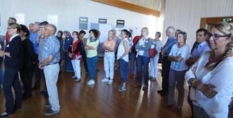 Hoch motiviert: Ehrenamtliche Mitglieder der Initiative Gemeinsam für Flüchtlinge in RSKN versammeln sich zur Klausur im ev. Gemeindehaus Sulzgries (Foto: Herbert Grimmer)
