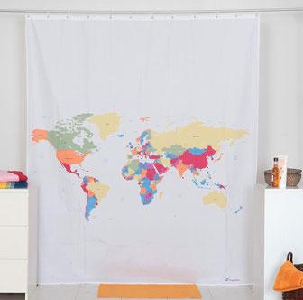 Duschvorhang Weltkarte originelle Geschenkideen