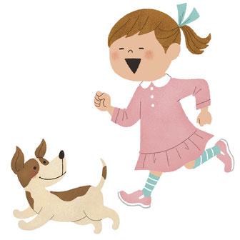 女の子と犬 走る イラスト