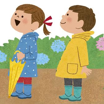 子ども 雨上がり イラスト