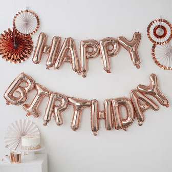 guirlande lettres ballons happy birthday rose gold deco anniversaire les bambetises